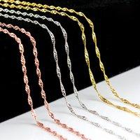 cadenas de enlace de color al por mayor-Collares de cadena de oro Collare Trendy Men Wave Clavicular cadena de regalo de fiesta Rose Gold / Gold / Silver Color Necklace Hombres Link Chain Jewelry