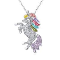 ingrosso ciondoli colorati-Popolare Unicorno con collana di strass Colourful smalto Pony Pendente Collana Fashion Jewelry Unisex Design catena d'argento all'ingrosso