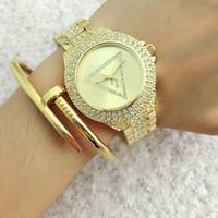Wholesale quartz watch triangle black resale online - Fashion Brand women s Girl crystal triangle style dial steel metal band quartz wrist watch GS6831