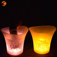 Wholesale Champagne Dining - Plastic Ice Barrel Colorized Waterproof Silicone Button Led Luminescence Bucket Champagne 5L Bar Supplies Circular Free Shipping 45kf V