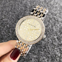 Wholesale gold steel women flower watch for sale - Group buy Brand Quartz wrist Watches for women Girl Flower crystal style Metal steel band Watches M58