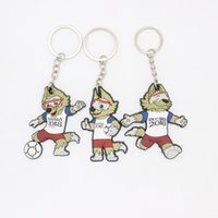 Wholesale Pendant Souvenir - 2018 russia World Cup Souvenir Mascot Key Buckle ZABIVAKA Key Chain Pendant Key pendant Soccer Mascot Football Wolf FIFA World Cup z149