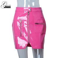 vorderer bleistiftrock großhandel-Frauen Kunstleder Bleistift Röcke Rosa Knopfreißverschluss Mini Hohe Taille Rock Weibliche Mode Sexy Party Röcke