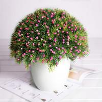 ingrosso piante in erba artificiale in vaso-6 pz / lotto Piante artificiali Mini Erba creativa + Frutta Bonsa In vaso Arrangiamento Accessori Simulazione Pianta ornamentale fiori