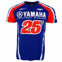 camisetas de moto para hombre al por mayor-2017 Maverick Vinales 25 Moto GP para Yamaha Factory Racing camiseta motocicleta hombres camiseta casual