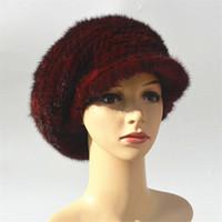 ingrosso cappelli neri di mink per le donne-Real berretto di visone berretto da donna cappello visone berretto ragazza berretti stile francese cappelli eleganti per le donne carino inverno flapcap grigio rosso nero