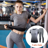 Wholesale Gym Suits For Women - Yel Hot Quick Dry Short Workout Sport Suit Compression Fitness Tights Yoga Set Gym Women's Costumes Sexy Tracksuit For Women