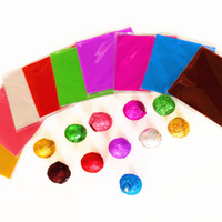 Wholesale Wholesale Candy Paper Wrappers - 100pcs 10*10cm Foil Paper for Sweets Candy Package Chocolate Hot foil paper Wrappers Square 8 colors