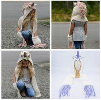 Wholesale kid crochet hat online - AMUSE in unicorn scarf cap Kids Infant Llama Warm Knitted Hats Children cartoon warmer Winter crochet Hat Colors AAA1013