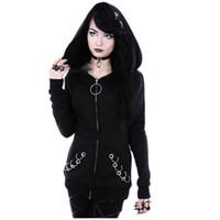 Wholesale iron fleece - XUANSHOW Women Hoodies Punk Style Iron Ring Sweatshirts Spring Autumn Long Sleeve Zip-up Black Jacket Zipper Ladies Coat