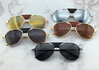 Wholesale sunglasses screws for sale - Group buy New fashion men sunglasses pilot frame santos leather design men design metal frame screws design top quality with case00271