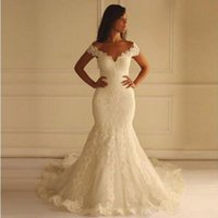 Wholesale wedding dresses off shoulder style - 2018 Off the Shoulders Mermaid Wedding Dresses Long Plus Size Sexy Lace Appliqued Cap Sleeve Sweep Train Country Style Wedding Bridal Gowns