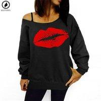 sexy red big lips al por mayor-2018 Mujeres de talla grande Sudaderas Sexy Red Big Lips Impreso Off Hombro Jerseys de manga larga Sudaderas con capucha
