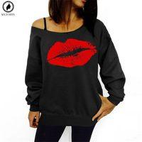sexy red big lips al por mayor-2018 tallas grandes sudaderas para mujeres Sexy Red Big Lips impreso hombro manga larga sudaderas con capucha
