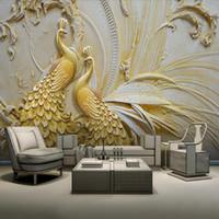 Wholesale wallpaper golden - Arkadi Custom photo wallpaper murals 3D relief golden peacock background wall wallpaper for walls 3 d papel de parede 3D
