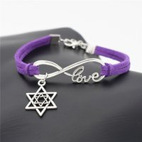 Wholesale summer bracelet accessories online - AFSHOR Best Gift Silver Star of David Charms Leather Bracelet Infinity Love Jewelry Women Men Stylish Summer Casual Unique Accessories
