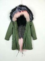 manteau long armée rose achat en gros de-Meifng - S-4XL (M002 long) EU et US grosse soeur couleur blackpink col de fourrure de raton laveur doublure de fourrure de renard