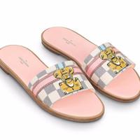 Wholesale pu trim - Must-have Branded Lock-It Mule Damier Azur Canvas Slipper Designer Pale Pink & Brown Lether Trim Slide Sandal Size 35-42