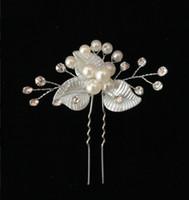 Silver Acrylic Pearl bridal pins Flower pin Bride hair Leaves Headdress Wedding accessory