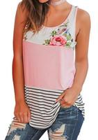 Wholesale tank top flowers - Women T-shirt Fashion Flower Print Tee Shirt Casual Loose Sleeveless Female Summer Vest Tees Tops