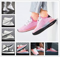 Wholesale flat netting - 2018 Original Deerupt Runner Net Surface Comfortable Casual Running Shoes for Mens Women All White Pink Orange Fashion Sports Sneakers 36-45
