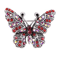 шляпы бабочки оптовых-PINKSEE Retro Rhinestone Butterfly Brooches Pins For Women Suit Hats Clips Shiny Lovely Animal Bijoux Brooch Bijouterie Gift
