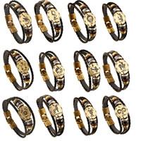 braceletes do horóscopo do zodíaco venda por atacado-12 Horoscope Pulseira De Couro Homens Jóias Personalidade Do Vintage Sinais Do Zodíaco Retro Trançado Charm Bracelet Masculino Jóias