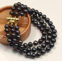 schönes schwarzes perlenarmband großhandel-schönes 3 reihen 9-10mm schwarz Natürliches Südsee-Perlenarmband aus Gelbgold