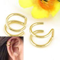 clip sin perforado al por mayor-Clip en Pendientes No perforado No Piercing Earcuff Ear Clip Pendientes para Mujeres Sin Piercing Gold Silver Black 100PCS