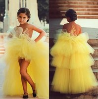 concurso para la venta al por mayor-Encantador de tul amarillo vestidos de las niñas de flores con gradas apliques corto delantero largo trasero Little Girls Pageant Dress para la fiesta de cumpleaños 2018 venta caliente