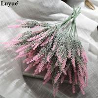 lavanda al por mayor-Boda Luyue 6pcs / Lot Romantic Provence Artificial Lavender Flower Wedding Flowers Año Nuevo Decoración Home Party Christmas Decorative