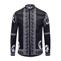 3b2d3c37f77 True Reveller Marke Kleidung schwarz Mode Shirts Männer Langarm Designer  Kleid Hochzeit Hemden Business-Tops Partei Club