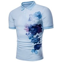 Wholesale flower painting patterns - Summer Polo Shirt Luxury Design Flower Painting Pattern Mens Casual print T-shirts Male Fashion Clothing M-3XL