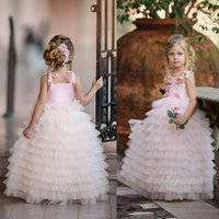 Wholesale pale pink girls dresses - Pale Pink Puffy Tutu Flower Girl Dresses 2018 Princess Spaghetti Straps With Hand Made Flowers Long Kids Formal Gowns For Weddings Parties