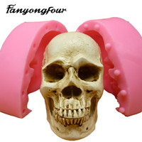 Wholesale Head Moulds - 3D Skull Heads fondant cake mold silicone mold chocolate mold soap soap candles tool free shipping