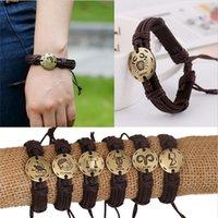 zodiac sign bracelets großhandel-Mode 12 Tierkreiszeichen Lederarmband Konstellationen Lederarmbänder Einstellbare Armband Schmuck SL-409