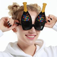 Wholesale Happy New Year Glasses - Happy New Year Sunglasses Wine Bottle Shape Funny Glasses Party Decorations Supplies Multi Color 8 5sfb C