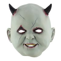 teufelsmaske groihandel-Halloween Realistisch ghastful Horrible Scary Creepy Little Devil Mask Masquerade Zubehör Kostüme Cosplay Partei Props