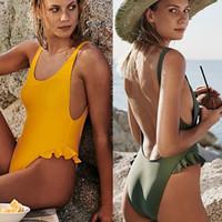 monokini kızları toptan satış-Seksi Tek Parça Mayo Kadın Backless Mayo Kadınlar Bodysuit Beachwear 2018 Mayıs kadın Plaj Kız Mayo Mayo Monokini