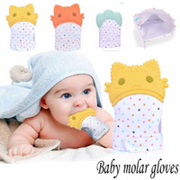 Wholesale toddler infant toys online - Safe Silicone Teether Gloves Baby Pacifier Gloves Toddler Nursing Teething Glove Toys Teether Chewable Glove Infant Sound Toys MMA1066
