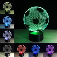 éclairage led mené achat en gros de-Ballon de Football Lampe optique Illumination 3D 3D 7 couleurs interchangeables Veilleuse 3D pour les amateurs de football, meilleur cadeau lampe