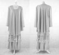 Wholesale long chiffon jacket mother bride dresses - 2018 Silver Chiffon Mother Of The Bride Dresses With Jackets Scoop Neck Long Sleeves Floor Length Mother Of The Groom Dresses