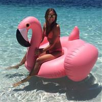 piscinas inflables para niños al por mayor-Flamenco inflable 150 cm 60 pulgadas gigante piscina flotador anillo de natación de cisne blanco Adultos Niños Fiesta acuática Juguetes para la piscina
