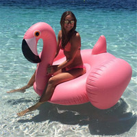 ingrosso anello di cigno bianco-Gonfiabile Flamingo 150CM 60 pollici Giant Pool Float White-Swan Anello di nuoto AdultiBambini Acqua Festa Giocattoli di festa Piscina