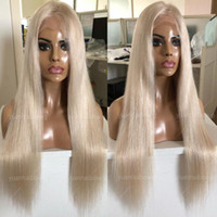 Wholesale white blonde human long wigs resale online - European Blonde Full Lace Wig White Blonde Color Silky Straight Vrgin European Hair Density Human Hair Lace Front Wigs