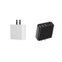 los teléfonos celulares actuales al por mayor-3 Cargador de pared USB 5V 3A Cargadores rápidos US Adaptador de viaje Voltaje actual LCD Pantalla digital Enchufe para iPhone Teléfono celular Android