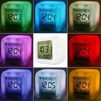 ingrosso sveglia ha portato multi-Multi-funzione LED Glowing Digital Clock Sveglia Night Lamp 7LED Colorful Changing sveglia light Termometro digitale Desktop Clock Cube