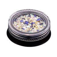 акриловые алмазные камни оптовых-2 Box 3D Nail Jewelry Colorful Mixed Acrylic Tip Diamond Flat Jewel Stone Nail Rhinestone Manicure DIY Art Decoration (Ro