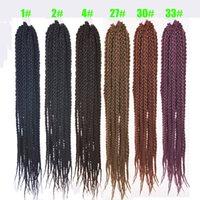 12 inç ombre saç uzantıları toptan satış-İpeksi Tellerinin 24 inç Kübik Büküm Tığ Saç 12 Kökler / Paketi Ombre Tığ Büküm Saç Uzantıları Örgü Saç