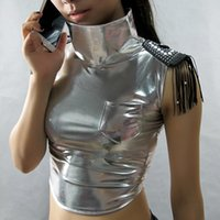 Wholesale Sexy Hip Hop Dance Costume - New Spring Summer fashion Jazz sleeveless Glossy Silver Black Top ds costume hip hop Sexy Bandage faux leather Dance Vest